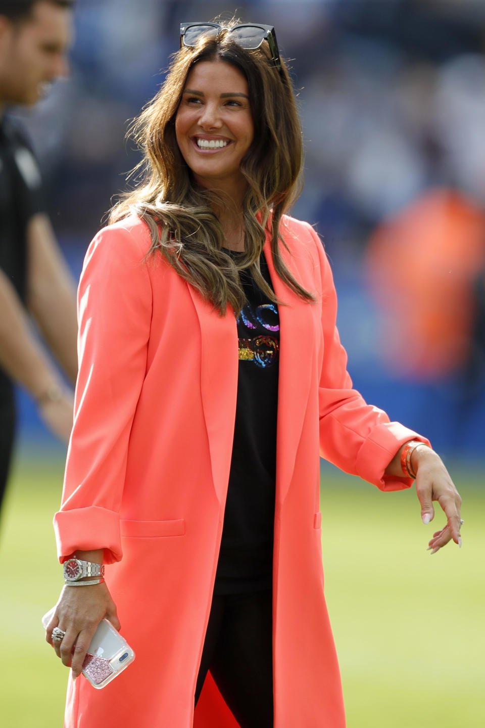 Rebekah Vardy, wife of Jamie Vardy, walks around the pitch following the Premier League match between Leicester City and Chelsea FC at The King Power Stadium on May 12, 2019 in Leicester, United Kingdom. (Photo by Malcolm Couzens/Getty Images)