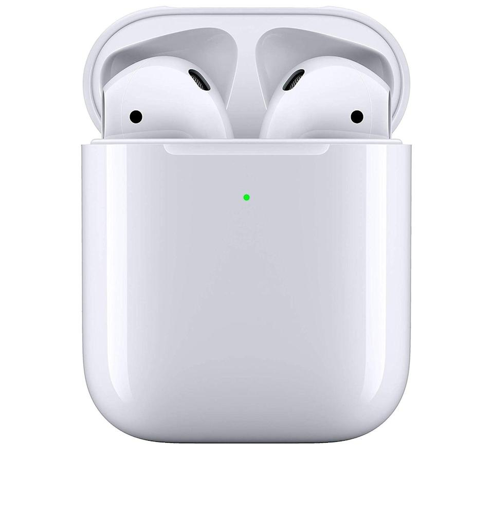 """<p><strong>Apple</strong></p><p>amazon.com</p><p><strong>$149.98</strong></p><p><a href=""""https://www.amazon.com/dp/B07PYLT6DN?tag=syn-yahoo-20&ascsubtag=%5Bartid%7C10054.g.34313481%5Bsrc%7Cyahoo-us"""" rel=""""nofollow noopener"""" target=""""_blank"""" data-ylk=""""slk:Buy"""" class=""""link rapid-noclick-resp"""">Buy</a></p><p>If you're not yet an AirPod adherent, now's the time to commit.</p>"""