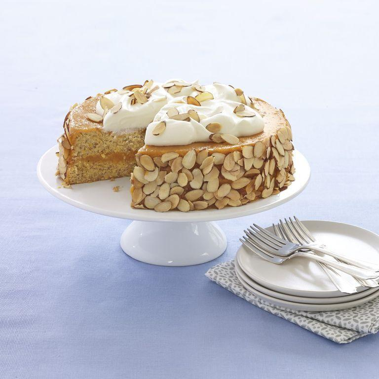 """<p>This Kosher-friendly Passover cake is made with matzo cake meal and homemade apricot puree, then topped with tasty sliced almonds for the perfect crunch.</p><p><em><em><a href=""""https://www.womansday.com/food-recipes/food-drinks/recipes/a53989/almond-apricot-cake-recipe/"""" rel=""""nofollow noopener"""" target=""""_blank"""" data-ylk=""""slk:Get the recipe from Woman's Day »"""" class=""""link rapid-noclick-resp"""">Get the recipe from Woman's Day »</a></em></em></p>"""