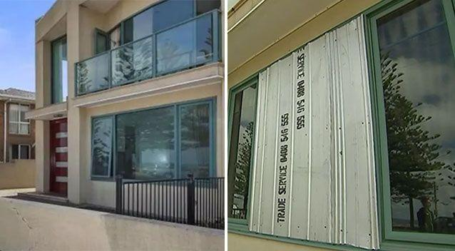 This home in Melbourne was left with about $150,000 worth of damage over the weekend. (Left) Before and (right) after one of the front windows was smashed. Source: Airbnb/ 7 News