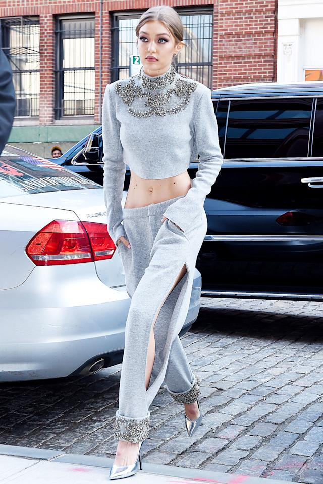 <p>In a grey embellished Sally LaPointe crop top and pants with silver metallic Stella Luna pumps while out in New York City. </p>