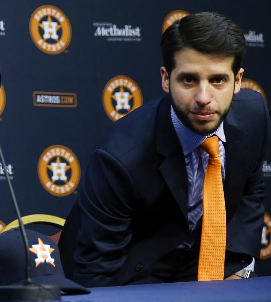 FILE - In this Jan. 17, 2018, file photo, Houston Astros Senior Director of Baseball Operations Brandon Taubman attends a baseball news conference in Houston. The Astros have fired Taubman for directing inappropriate comments at female reporters following Houston's pennant-winning victory over the New York Yankees.  (Michael Ciaglo/Houston Chronicle via AP)