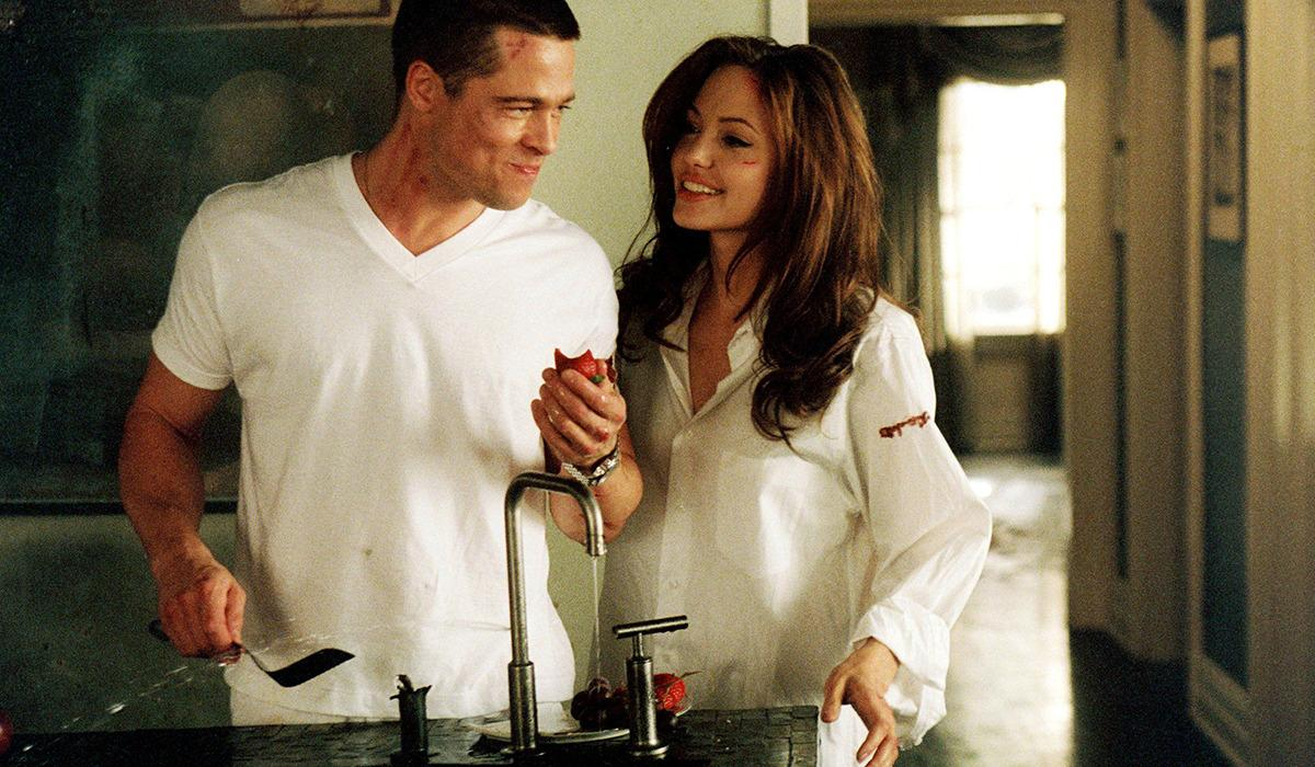 'Mr & Mrs Smith' (2005) - Brad Pitt & Angelina Jolie Perhaps the most famous example of what we're talking about here is the creation of 'Brangelina'. Angelina Jolie already had a bit of a reputation in her personal life and was instantly blamed by everyone for her affair with Brad Pitt. The world was well and truly 'Team Aniston' at the time and the press dined out on the story for months. Jennifer Aniston and Brad divorced, while the actor and Angelina have stayed the course and are now the undisputed King & Queen of Movieland.