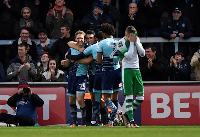 Soccer Football - FA Cup Second Round - Blackburn Rovers vs Crewe Alexandra - Ewood Park, Blackburn, Britain - December 3, 2017 Wycombe Wanders' Craig Mackail-Smith celebrates scoring their second goal with team mates Action Images/Carl Recine