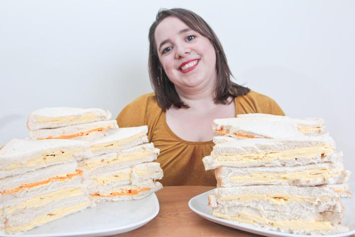 April Griffiths, 29, lives off a diet of cheese sandwiches. (SWNS)