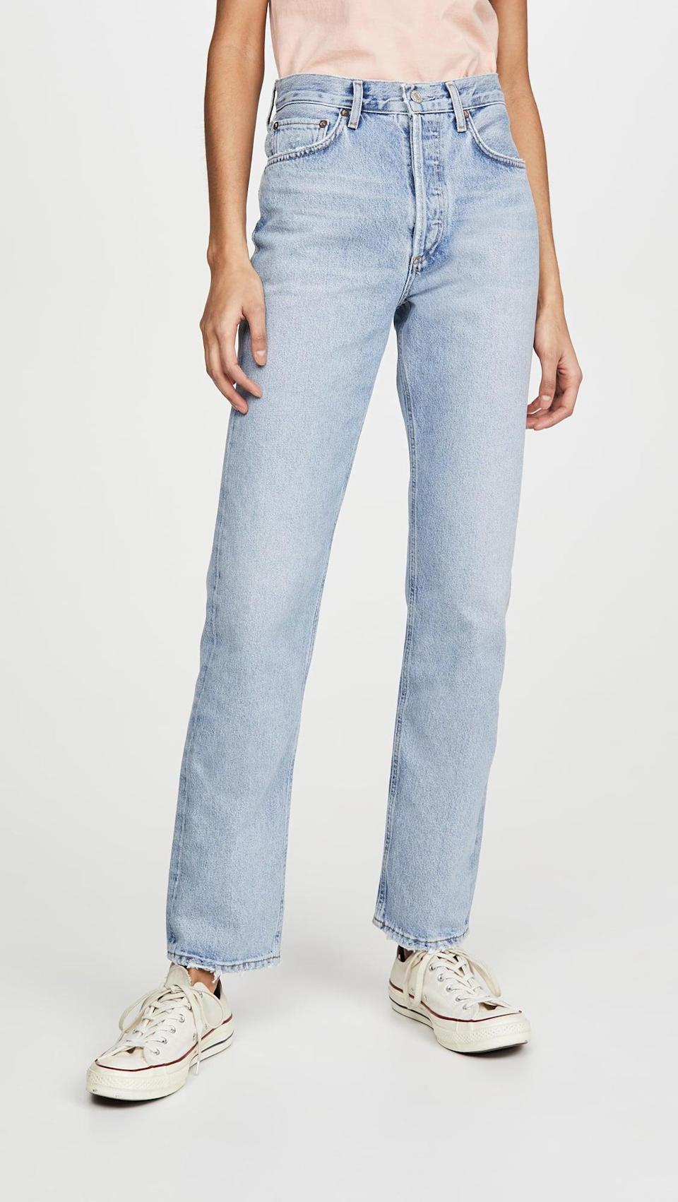 <p>If you're seeing the low-rise jean trend and aren't quite ready to hop on the bandwagon, try a mid-rise jean. These <span>Agolde Lana Mid Rise Vintage Straight Jeans</span> ($188) are so on trend.</p>