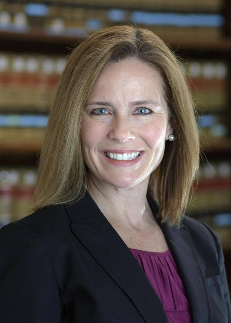 Judge Amy Coney Barrett is one of Mr Trump's top Supreme Court contenders (University of Notre Dame Law School via AP)
