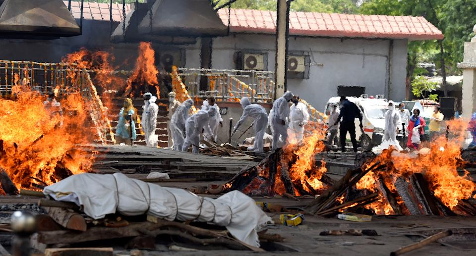 Funeral pyres of Covid-19 patients in New Delhi.