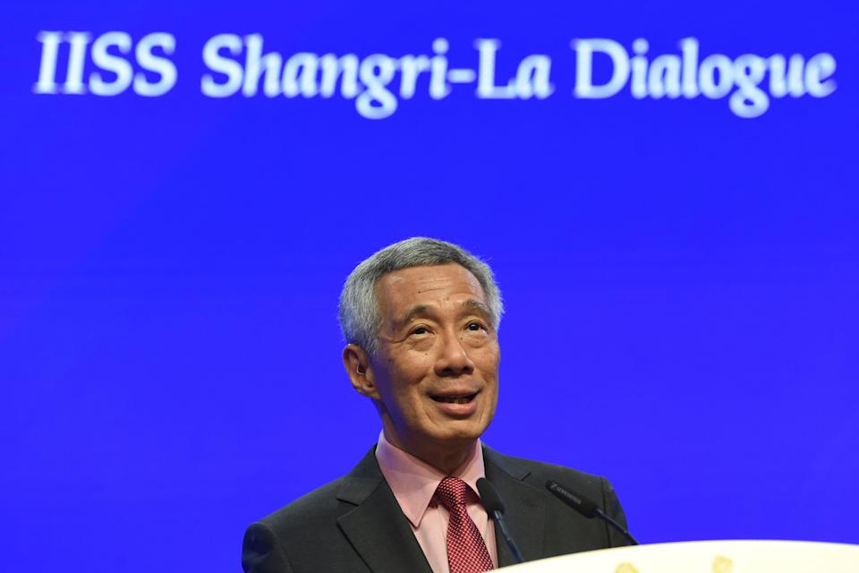 Singapore's Prime Minister Lee Hsien Loong speaks during the opening of the IISS Shangri-La Dialogue summit in Singapore on May 31, 2019. (Photo by Roslan RAHMAN / AFP)        (Photo credit should read ROSLAN RAHMAN/AFP/Getty Images)