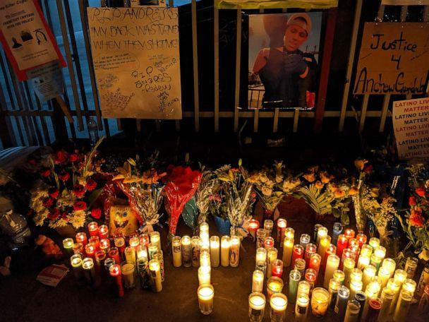 PHOTO: Candles and flowers are set next to an image of Andres Guardado, 18, who was fatally shot by a Los Angeles County sheriff's deputy, at a memorial site in Gardena, Calif. (Damian Dovarganes/AP)