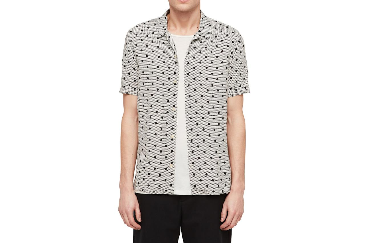 """$130, Nordstrom. <a href=""""https://shop.nordstrom.com/s/allsaints-amour-slim-fit-polka-dot-camp-shirt/5260807?origin=category-personalizedsort&breadcrumb=Home%2FAnniversary%20Sale%2FMen&color=off%20white"""">Get it now!</a>"""