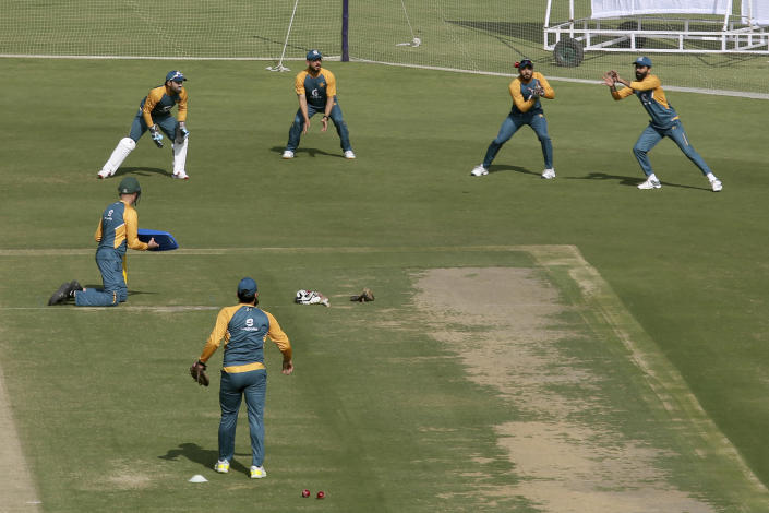 Players of Pakistan Cricket Team attend a practice session for an upcoming test match against South Africa at National Stadium, in Karachi, Pakistan, Friday, Jan. 22, 2021. Pakistan will play the first test match on Jan. 26, against South Africa, who arrived in the southern port city of Karachi last Saturday for the first time in nearly 14 years. (AP Photo/Fareed Khan)