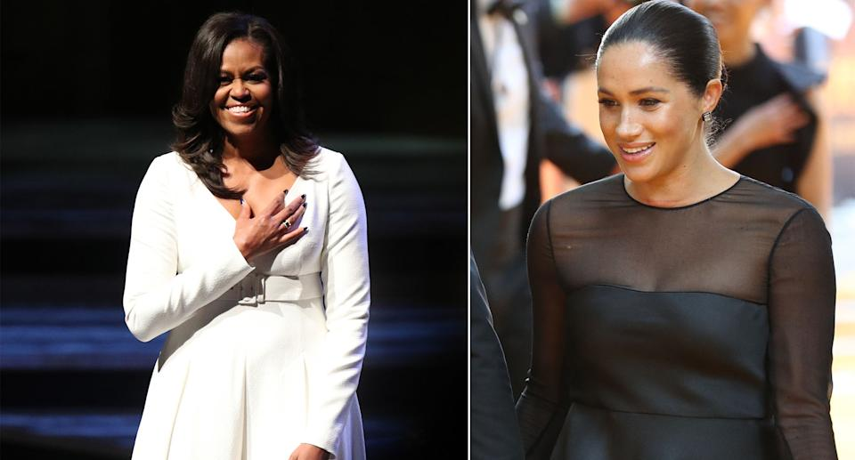 Michelle Obama in London during her book tour and Meghan at the Lion King premiere. [Photos: PA]