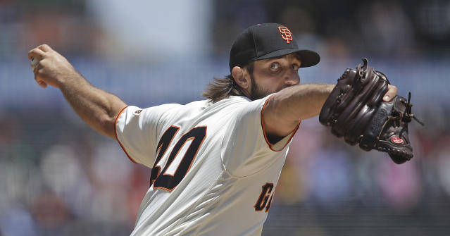 San Francisco Giants pitcher Madison Bumgarner works against the Atlanta Braves in the first inning of a baseball game Thursday, May 23, 2019, in San Francisco. (AP Photo/Ben Margot)