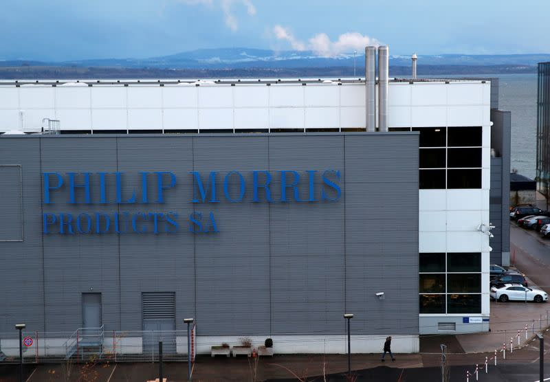 FILE PHOTO: A Philip Morris logo is pictured on a factory in Serrieres