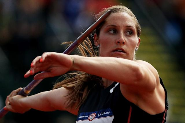Kara Winger claimed her eight national title by winning the women's javelin competition at the USA Outdoor Track and Field Championships, in Des Moines, Iowa, on June 21, 2018 (AFP Photo/Patrick Smith)