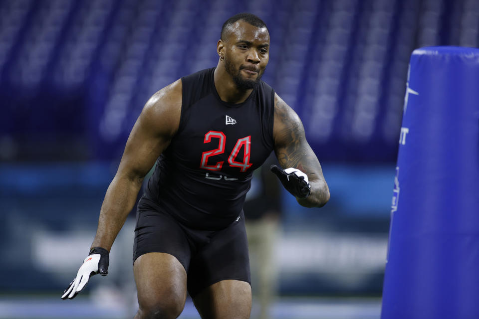 Alabama DL Raekwon Davis flashed his skills at the NFL combine. (Photo by Joe Robbins/Getty Images)
