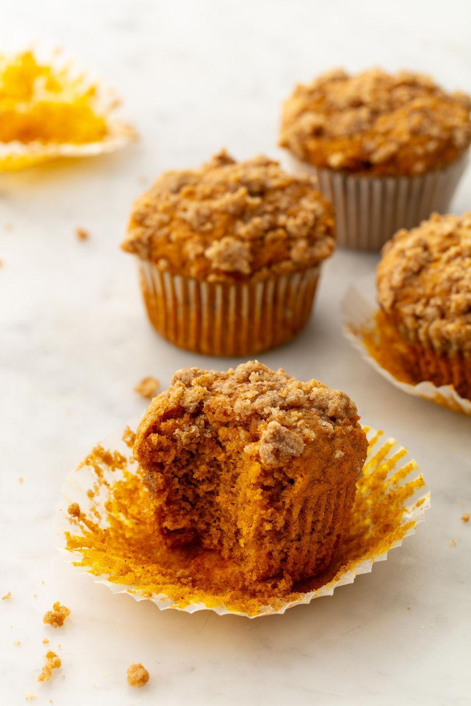 "<p>Streusel topping is peak fall. </p><p>Get the recipe from <a href=""https://www.delish.com/cooking/recipe-ideas/a21960637/pumpkin-spice-muffins/"" rel=""nofollow noopener"" target=""_blank"" data-ylk=""slk:Delish."" class=""link rapid-noclick-resp"">Delish.</a></p>"