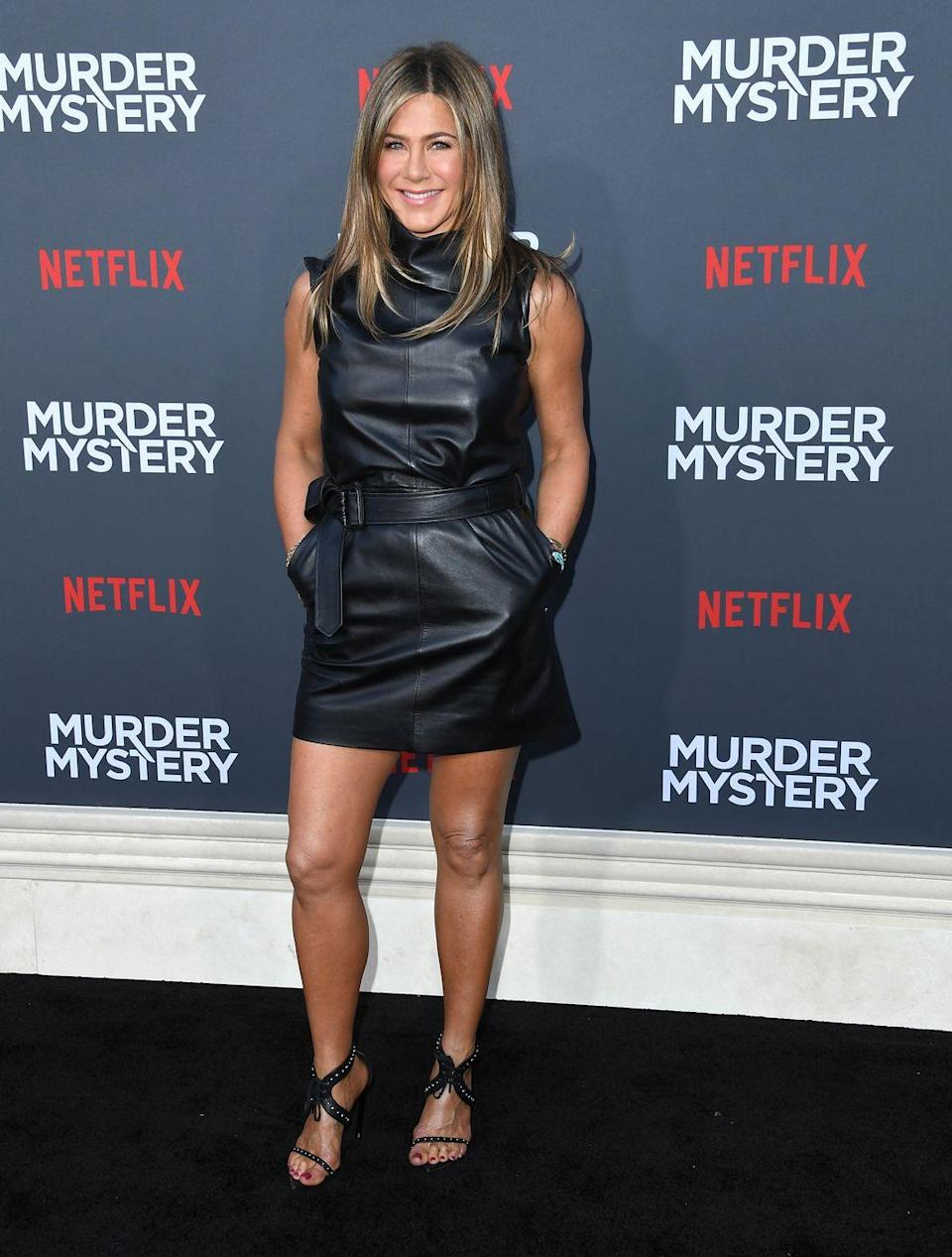 <p>Just rocked this envy-inducing little black dress to the premiere of her latest film, <em>Murder Mystery</em>. The Netflix film finds Jen and co-star Adam Sandler wrapped up in the murder of a billionaire while on a European vacation.<br></p>