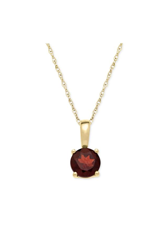 "<p>The deep red garnet is the most widely recognizable color of this gemstone, but garnets also come in shades of orange and green. </p> <p>Garnet Pendant Necklace</p> <p>Buy it: $100, <a href=""https://click.linksynergy.com/deeplink?id=93xLBvPhAeE&mid=3184&murl=https%3A%2F%2Fwww.macys.com%2Fshop%2Fproduct%2Fgarnet-pendant-necklace-in-14k-gold-5-8-ct.-t.w.%3FID%3D1375976%26CategoryID%3D73778&u1=SL%2CRX_1910_GarnetNecklace%2Crogersc%2C%2CIMA%2C644906%2C201910%2CI"" target=""_blank"">macys.com</a></p>"