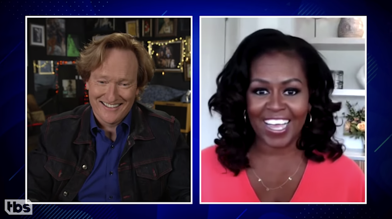 Conan O'Brien and Michelle Obama (via YouTube)
