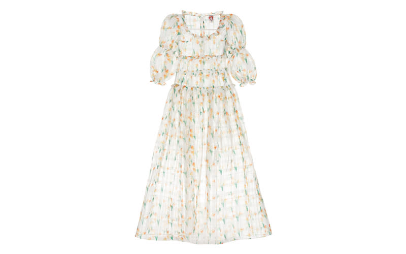 """Arguably one of the most beautiful dresses we ever did lay our eyes on and now we're desperately waiting by the door for an invitation somewhere fancy - we'll take any excuse. <a href=""""https://shrimps.com/collections/dresses/products/cara-dress-daffodil"""" rel=""""nofollow noopener"""" target=""""_blank"""" data-ylk=""""slk:Shop now"""" class=""""link rapid-noclick-resp""""><em>Shop now</em></a><em>.</em>"""