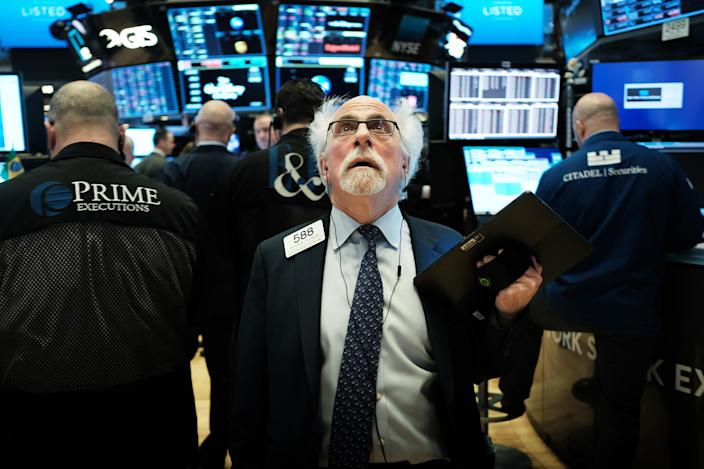 Image: Peter Tuchman at the New York Stock Exchange on March 9, 2020. (Spencer Platt / Getty Images file)