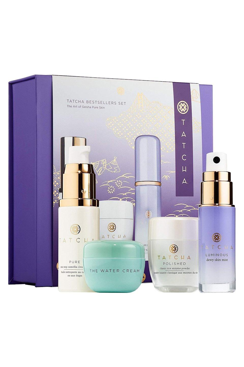 """<p><strong>Tatcha</strong></p><p>sephora.com</p><p><strong>$60.00</strong></p><p><a href=""""https://go.redirectingat.com?id=74968X1596630&url=https%3A%2F%2Fwww.sephora.com%2Fproduct%2Ftatcha-bestsellers-set-P450961&sref=https%3A%2F%2Fwww.elle.com%2Fbeauty%2Fmakeup-skin-care%2Fg33433197%2Fbest-skin-care-sets%2F"""" rel=""""nofollow noopener"""" target=""""_blank"""" data-ylk=""""slk:Shop Now"""" class=""""link rapid-noclick-resp"""">Shop Now</a></p><p>Traveling to Japan might not be in this year's cards but Tatcha's Bestsellers Set brings you pretty close to the country's culture. Inspired by Japanese beauty culture, each product is crafted from Japanese anti-aging superfoods like green tea, algae, and rice.</p>"""