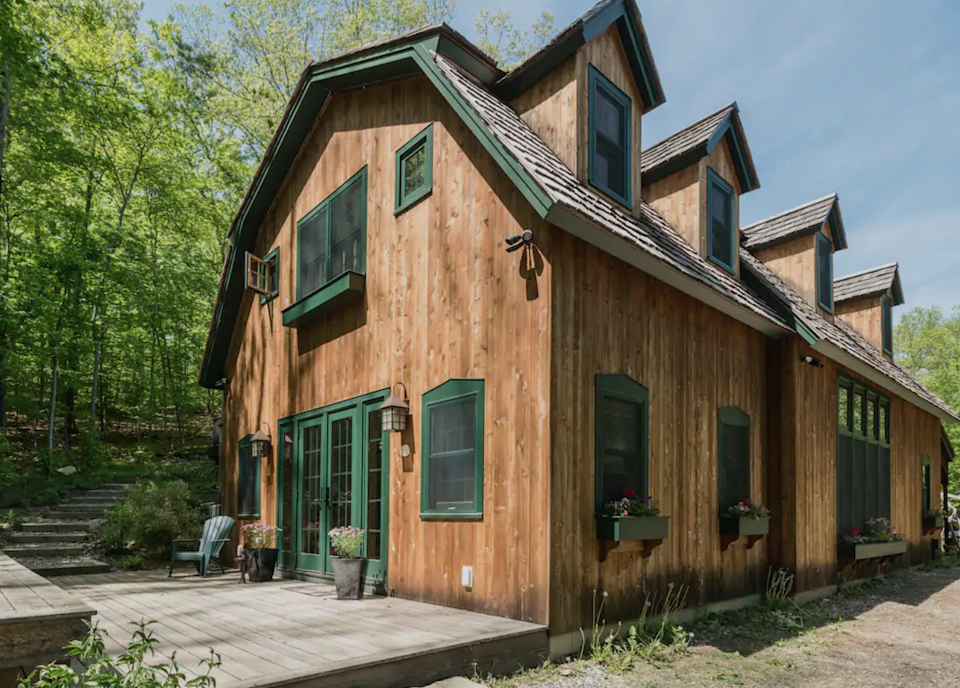 """<h2>Redding Ridge, Connecticut</h2><br><strong>Location</strong>: Redding, Connecticut<br><strong>Sleeps</strong>: 4<br><strong>Price Per Night</strong>: <a href=""""https://airbnb.pvxt.net/P0VxW6"""" rel=""""nofollow noopener"""" target=""""_blank"""" data-ylk=""""slk:$375"""" class=""""link rapid-noclick-resp"""">$375</a><br><br>""""Fully converted 2,500-square-foot barn creates a charming single-family residence with two bedrooms, two and a half baths, and beds for six. Bucolic privacy with a completely separate building and access from the primary residence. Property borders 100+ acres of open space and river, with hiking trails and room to run. Ideal for couples/families wishing to reconvene in nature. Full building access on weekends; access to all but the downstairs/studio on weekdays.""""<br><br><h3>Book <a href=""""https://airbnb.pvxt.net/P0VxW6"""" rel=""""nofollow noopener"""" target=""""_blank"""" data-ylk=""""slk:Private Barn Weekend Residence In The Woods"""" class=""""link rapid-noclick-resp"""">Private Barn Weekend Residence In The Woods</a></h3>"""