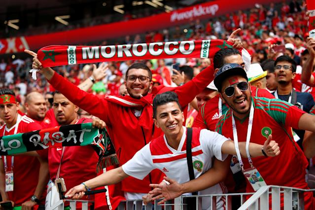 Soccer Football - World Cup - Group B - Portugal vs Morocco - Luzhniki Stadium, Moscow, Russia - June 20, 2018 Morocco fans inside the stadium before the match REUTERS/Axel Schmidt