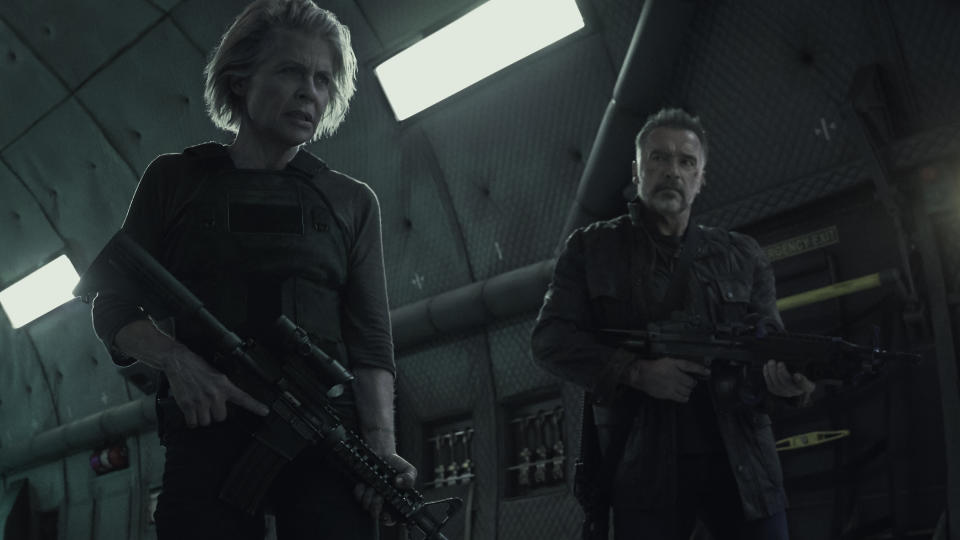 Linda Hamilton, left, and  Arnold Schwarzenegger star in Skydance Productions and Paramount Pictures' <i>Terminator: Dark Fate</i>