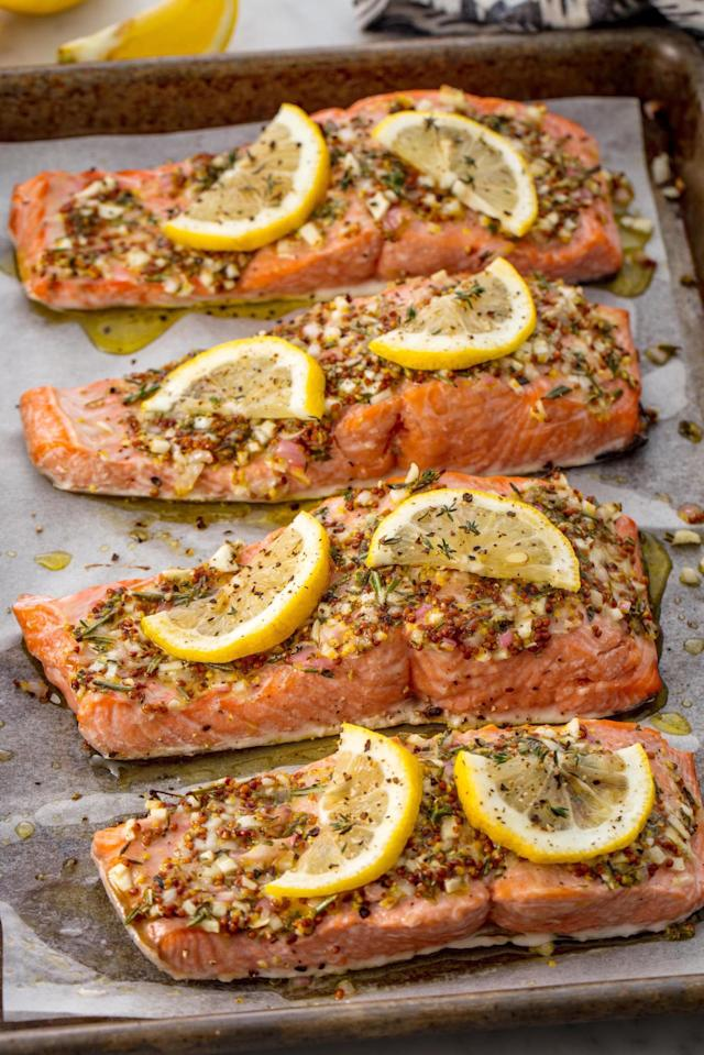 """<p>An extremely addicting and easy salmon recipe for your arsenal.</p><p>Get the recipe from <a href=""""http://www.delish.com/cooking/recipe-ideas/recipes/a55654/best-broiled-salmon-recipe/"""" rel=""""nofollow noopener"""" target=""""_blank"""" data-ylk=""""slk:Delish"""" class=""""link rapid-noclick-resp"""">Delish</a>.</p>"""