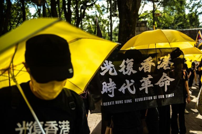 """Pro-democracy activists held flags reading """"liberate Hong Kong, revolution of our times"""" during a rally in Tokyo's Shinjuku district"""