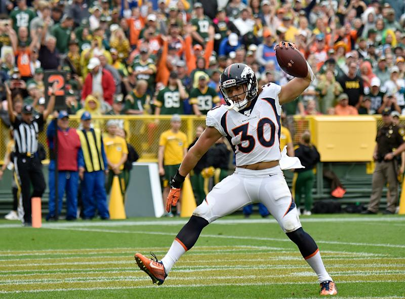 GREEN BAY, WISCONSIN - SEPTEMBER 22: Phillip Lindsay #30 of the Denver Broncos reacts after scoring a touchdown in the first quarter against the Green Bay Packers at Lambeau Field on September 22, 2019 in Green Bay, Wisconsin. (Photo by Quinn Harris/Getty Images)