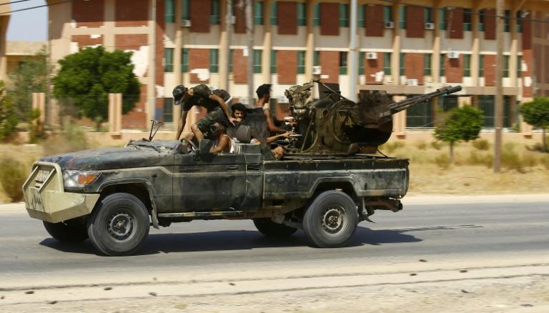 Fighters loyal to the internationally-recognised Government of National Accord are pictured during clashes with forces loyal to strongman Khalifa Haftar, in Espiaa, about 40 kilometers (25 miles) south of the Libyan capital Tripoli