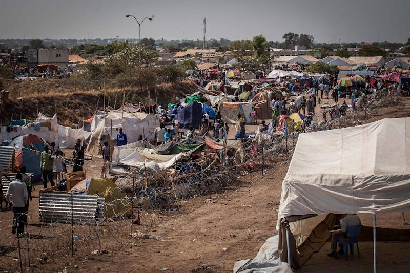 An internally displaced persons camp is seen in Juba on January 7, 2014