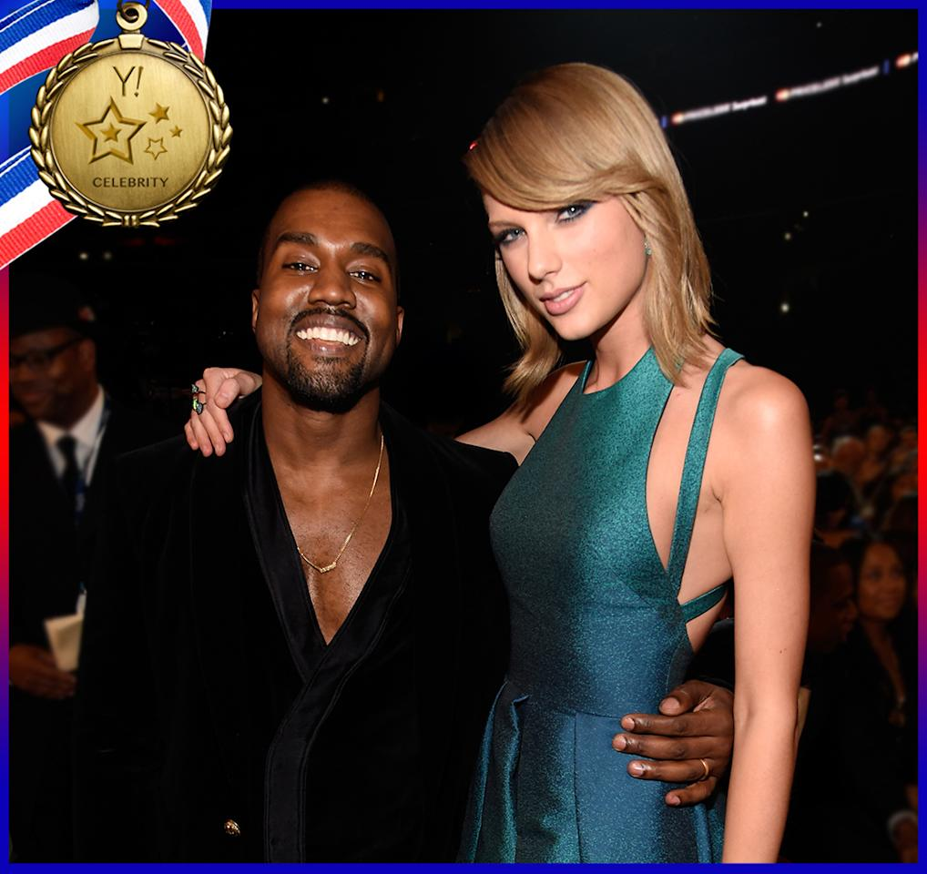 """<p>Thinking that everything's cool between Taylor Swift and Kanye West is so 2015! Their run-in at the 2009 MTV Video Music Awards was finally behind them, but then West released the song """"Famous,"""" including a line about Swift and how he """"made that b**** famous."""" While West claimed the singer had approved the line in advance, Swift obviously disagreed. Still, nothing really blew up until West's wife Kim Kardashian took his side in an interview for the July issue of <i>GQ</i>, confirming that Swift gave West permission. After Kardashian released a recording of the phone call in question, which seemed to back up West, Swift <a rel=""""nofollow"""" href=""""https://www.yahoo.com/celebrity/taylor-swift-slams-kim-kanye-052147035.html"""">jumped into the controversy</a> herself. """"Where is the video of Kanye telling me he was going to call me 'that b***h' in his song? It doesn't exist because it never happened."""" Swift added, """"I would very much like to be excluded from this narrative, one that I have never asked to be a part of, since 2009."""" But <a rel=""""nofollow"""" href=""""https://www.yahoo.com/celebrity/taylor-swift-threatened-kanye-west-criminal-prosecution-over-151656302.html"""">that's not likely</a>. (Photo: Kevin Mazur/WireImage) </p>"""