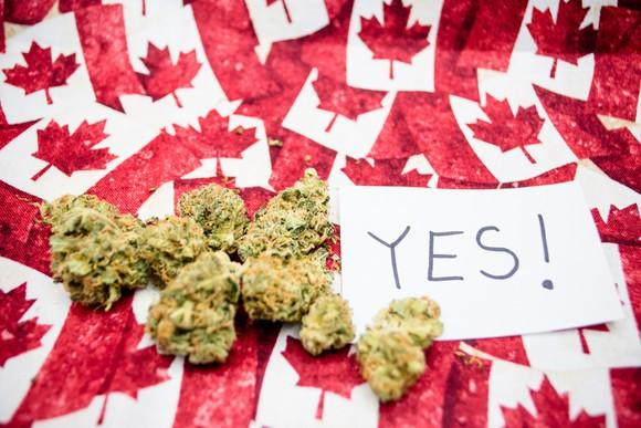 """Marijuana buds and a paper with """"YES!"""" written on it on top of tiny Canadian flags"""