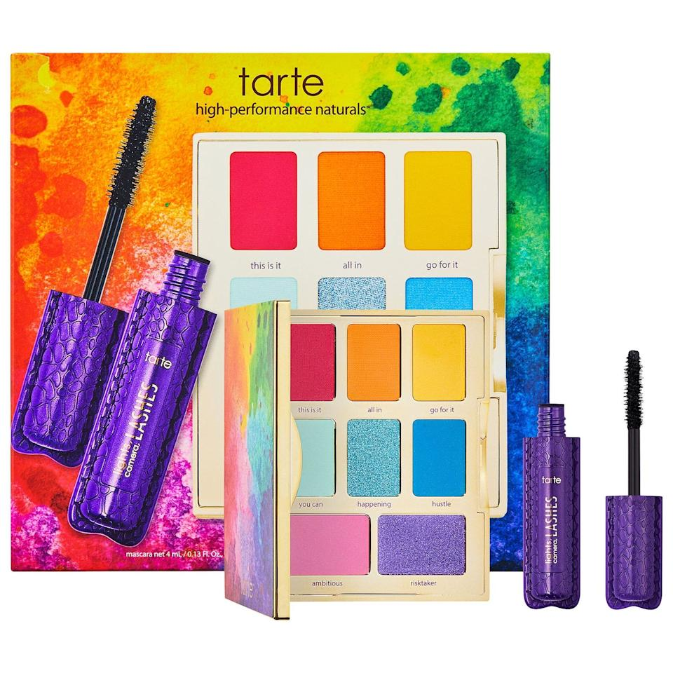 """<h3>Tarte</h3><p>YouTuber <a href=""""https://www.refinery29.com/en-us/jessie-paege-inteview-tarte-palette"""" rel=""""nofollow noopener"""" target=""""_blank"""" data-ylk=""""slk:Jessie Paege"""" class=""""link rapid-noclick-resp"""">Jessie Paege</a>, who <a href=""""https://www.youtube.com/watch?v=Ol6i1FC9qvA"""" rel=""""nofollow noopener"""" target=""""_blank"""" data-ylk=""""slk:came out as bisexual"""" class=""""link rapid-noclick-resp"""">came out as bisexual</a> last year in a video that garnered 1.3 million views, has teamed up with Tarte to release a set with a mini mascara and a palette of rainbow eyeshadows. But rather than Tarte just simply donating proceeds, the brand has announced that it's donating $25,000 to <a href=""""https://www.thetrevorproject.org/"""" rel=""""nofollow noopener"""" target=""""_blank"""" data-ylk=""""slk:The Trevor Project"""" class=""""link rapid-noclick-resp"""">The Trevor Project</a> regardless of sale numbers.</p><br><br><strong>Tarte</strong> Let it Rain-bow Eye Set, $29, available at <a href=""""https://www.sephora.com/ca/en/product/let-it-rain-bow-eye-set-P444945"""" rel=""""nofollow noopener"""" target=""""_blank"""" data-ylk=""""slk:Sephora"""" class=""""link rapid-noclick-resp"""">Sephora</a>"""