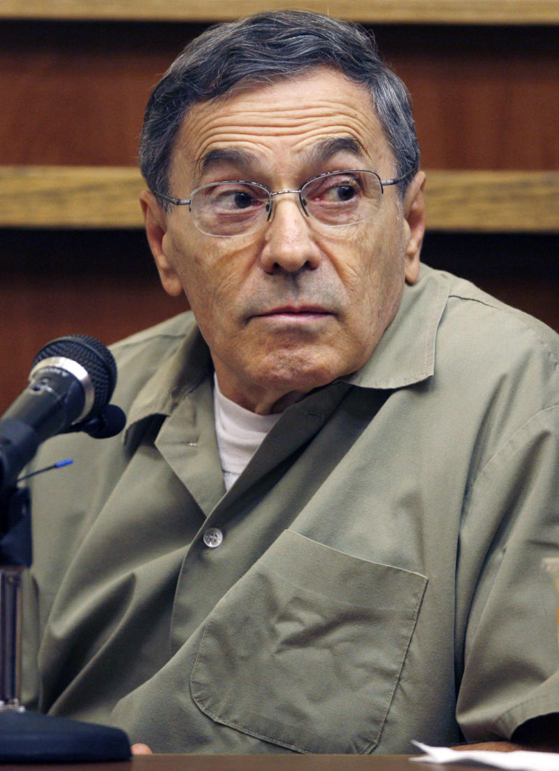 "FILE - In this Sept. 22, 2008, file photo, Stephen ""The Rifleman"" Flemmi, a jailed Boston mob leader, testifies in a Miami court room in the murder trial of former FBI agent John Connolly. Flemmi is on the witness list to testify at the trial of James ""Whitey"" Bulger, which begins with jury selection on Tuesday, June 4, 2013 in federal court in Boston.  (AP Photo/J. Pat Carter, File)"