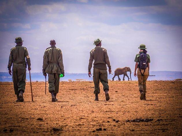 """Hawa on her mammoth """"Walk with Rangers"""" trek from Arusha in Tanzania to Kenya. The aim was to draw attention to the plight of rangers."""