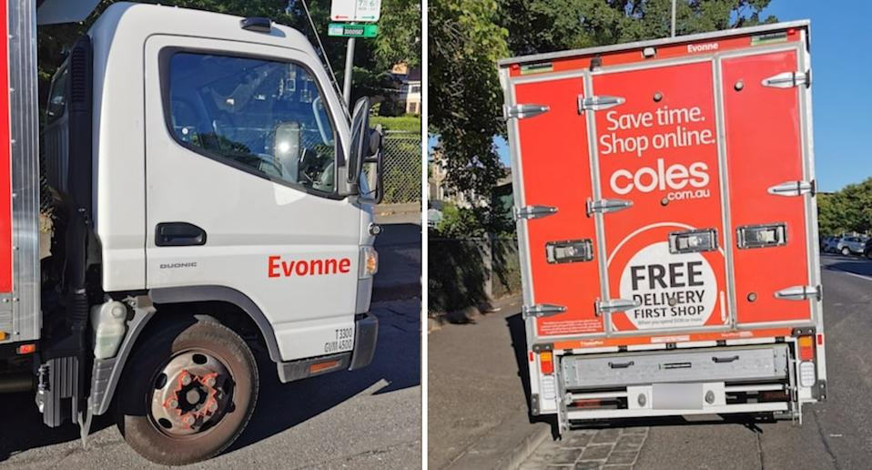 Two photos of Coles truck, Evonne.
