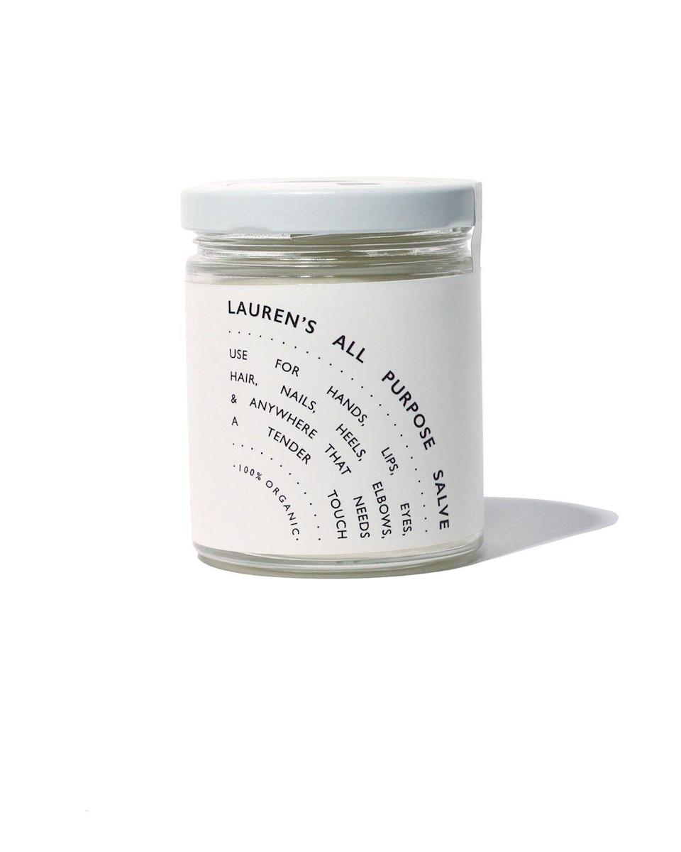 """<p>laurensallpurpose.com</p><p><strong>$54.00</strong></p><p><a href=""""https://laurensallpurpose.com/collections/frontpage/products/laurens-all-purpose-salve-big-jar"""" rel=""""nofollow noopener"""" target=""""_blank"""" data-ylk=""""slk:Shop Now"""" class=""""link rapid-noclick-resp"""">Shop Now</a></p><p>""""Certain <a href=""""https://www.cosmopolitan.com/style-beauty/beauty/a30112068/essential-oils-for-bath/"""" rel=""""nofollow noopener"""" target=""""_blank"""" data-ylk=""""slk:essential oils"""" class=""""link rapid-noclick-resp"""">essential oils</a> are <strong>packed with fatty acids that further help strengthen your skin,"""" </strong>Dr. Idriss says, noting that you should """"look for rosehip, jasmine, and lavender oils in formulas."""" This dreamy salve that's somewhere between a cream and an oil contains not only contains lavender oil, but also skin-smoothing shea butter and coconut, hemp, jojoba, sweet almond, peppermint, and patchouli oils.</p>"""