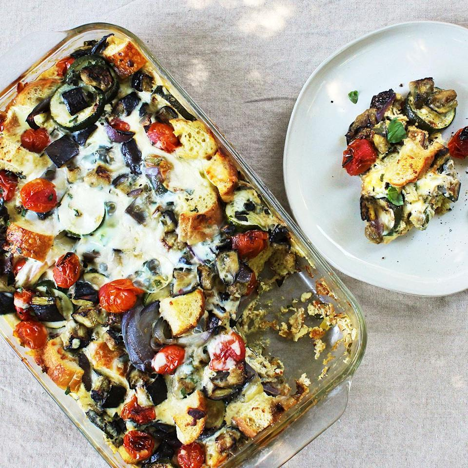 <p>This cheesy eggplant casserole has a light custard with deliciously tender and flavorful summer vegetables and fresh herbs. The cheese makes this easy dish creamy and decadent. Enjoy it for brunch or dinner with a green salad on the side.</p>