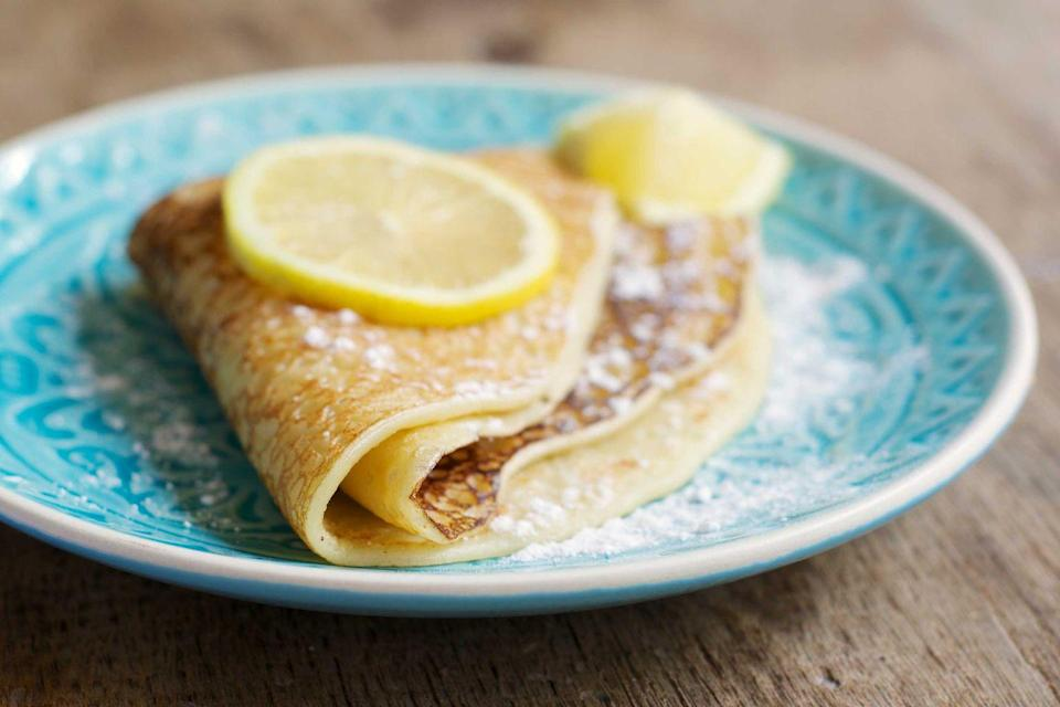 "<p>You don't need a romantic night in Paris to experience the delights of the classic crêpe. There are usually two types of this very thin pancake -- sweet crêpes and savory galettes. They're served with various fillings from only sugar to Nutella, strawberries and more.</p><p><strong>Get the recipe at <a href=""https://www.delish.com/cooking/recipe-ideas/recipes/a52114/easy-basic-crepe-recipe/"" rel=""nofollow noopener"" target=""_blank"" data-ylk=""slk:Delish"" class=""link rapid-noclick-resp"">Delish</a>.</strong></p>"