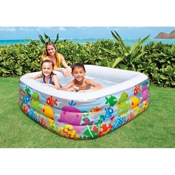 """<h2>Walmart</h2><br>From a <a href=""""https://www.walmart.com/ip/Intex-Swim-Center-Family-Lounge-Inflatable-Pool-90-X-90-X-26-Ages-3/319669330"""" rel=""""nofollow noopener"""" target=""""_blank"""" data-ylk=""""slk:lounge-able hot-tub style"""" class=""""link rapid-noclick-resp"""">lounge-able hot-tub style</a> option that's just begging to be accompanied by a margarita to a <a href=""""https://www.walmart.com/ip/Intex-Inflatable-Dinosaur-Water-Play-Center/19414895"""" rel=""""nofollow noopener"""" target=""""_blank"""" data-ylk=""""slk:diminutive dino-themed adventure park"""" class=""""link rapid-noclick-resp"""">diminutive dino-themed adventure park</a>, Walmart has something for everyone.<br><br><em>Shop inflatable pools at <strong><a href=""""https://www.walmart.com/browse/toys/inflatable-pools/4171_14521_132873_1218921_4755372https://www.walmart.com/browse/toys/inflatable-pools/4171_14521_132873_1218921_4755372"""" rel=""""nofollow noopener"""" target=""""_blank"""" data-ylk=""""slk:Walmart"""" class=""""link rapid-noclick-resp"""">Walmart</a></strong></em><br><br><strong>Intex</strong> Inflatable Clearview Aquarium Pool, $, available at <a href=""""https://go.skimresources.com/?id=30283X879131&url=https%3A%2F%2Fwww.walmart.com%2Fip%2FIntex-Inflatable-Clearview-Aquarium-Pool%2F26410085"""" rel=""""nofollow noopener"""" target=""""_blank"""" data-ylk=""""slk:Walmart"""" class=""""link rapid-noclick-resp"""">Walmart</a>"""