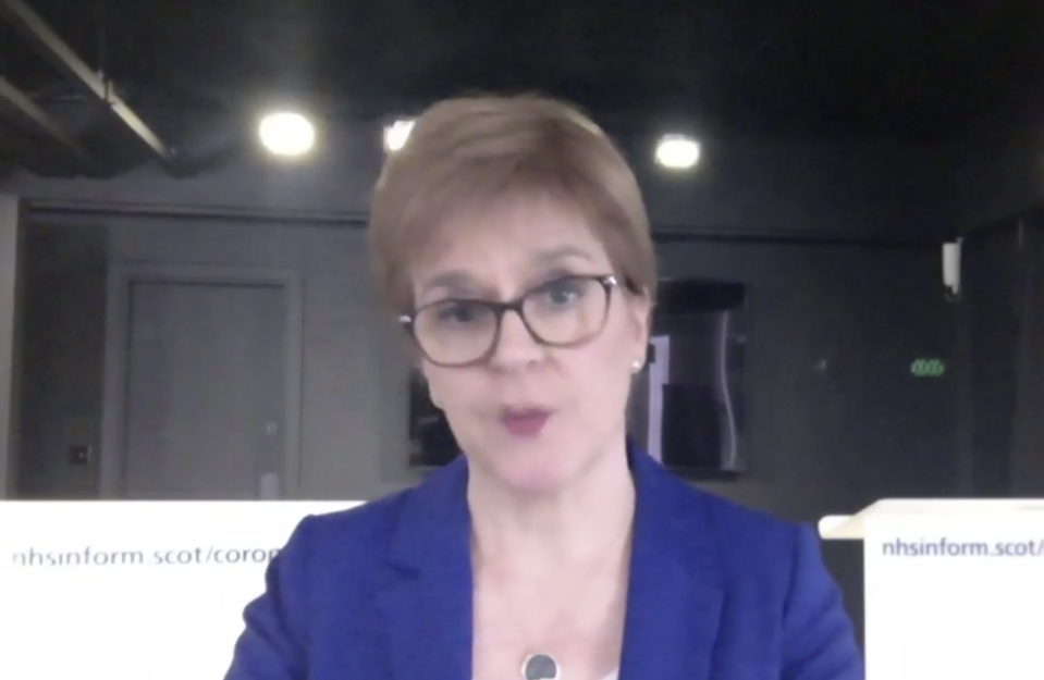Nicola Sturgeon revealed the plan for a lockdown exit strategy during a virtual First Minister's Questions on Zoom (Scottish Government TV)