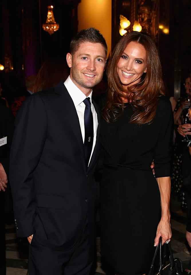 LONDON, ENGLAND - JULY 16:  Michael Clarke of Australia and his wife Kyly Clarke pose during the Australian Cricket Team visit to the Australian High Commision on July 16, 2013 in London, England.  (Photo by Ryan Pierse/Getty Images)