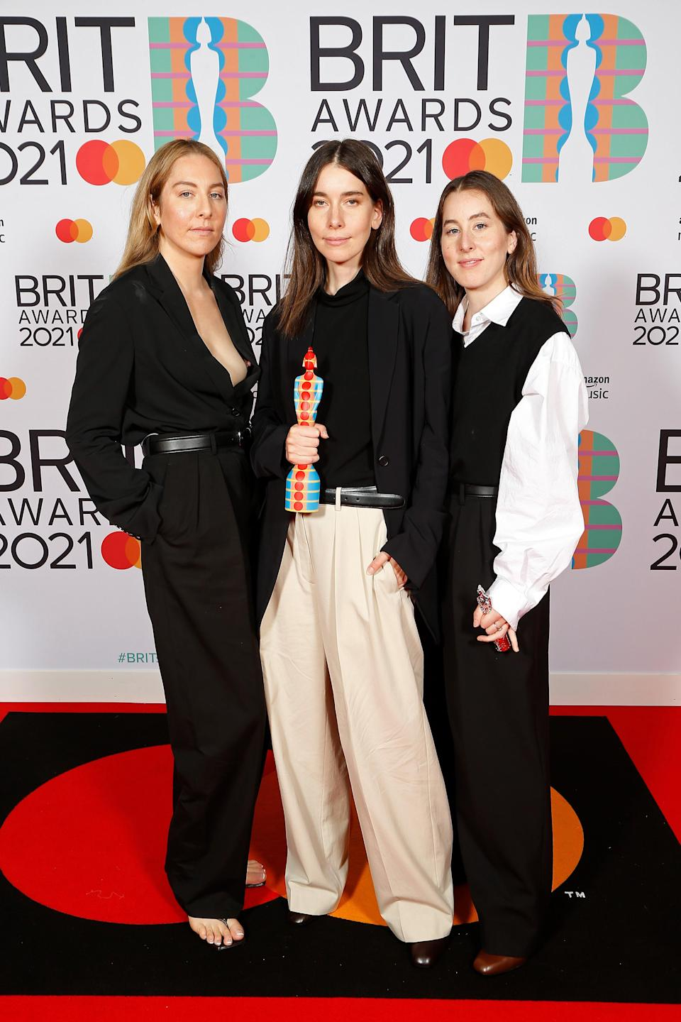 """<h2>HAIM in The Row</h2><br>It's impossible not to love a coordinating The Row moment on the red carpet. <span class=""""copyright"""">Photo: JMEnternational/JMEnternational for BRIT Awards/Getty Images.</span>"""