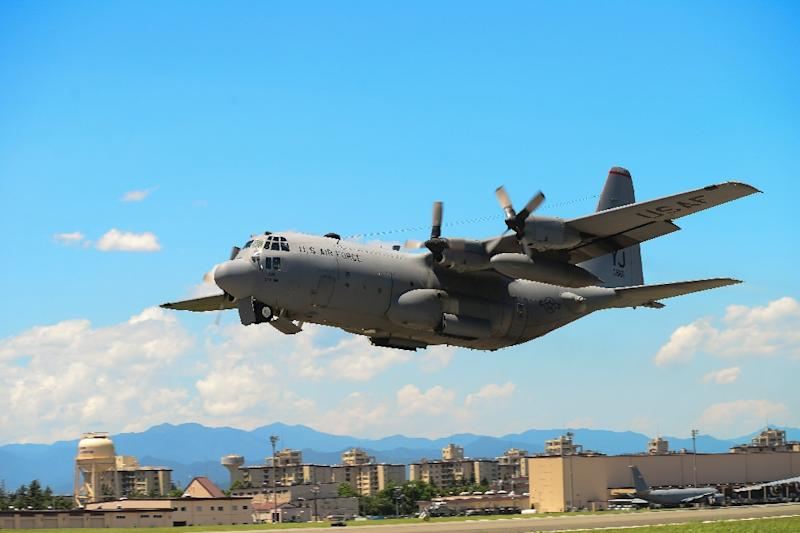Two US Marine Corps aircraft, including a C-130 tanker similar to the one pictured, crashed during a refueling operation off the coast of Japan (AFP Photo/David OWSIANKA)